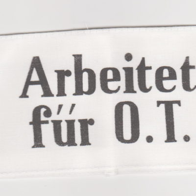 German Arbeit fur Organisation Todt on White armband